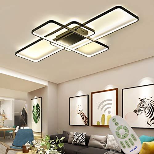 LED Deckenlampe Wohnzimmer Küche Lampe Dimmbar Fernbedienung, Modern Eckig 3-ring Design Lang Deckenleuchte Metall Acryl-schirm Kronleuchter Deco Wandlampe für Esszimmer Bad Flur L80*W50cm (Schwarz)