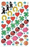 AVERY Zweckform Papier Sticker Glücksbringer 102 Aufkleber (Dekosticker, Marienkäfer, Herzen, Hufeisen, Klee, Pilz, Schwein, Pfennig, Schornsteinfeger, selbstklebend, Scrapbooking,...