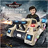 Flurries Ride-On Tank - Manned Remote Control Electric RC Mini Crawler Military Armored Truck - Dual Modes Manual/Parental Remote Control Toys - 3 Speed LED Light MP3 Music (Ship from US!!!) (Khaki)