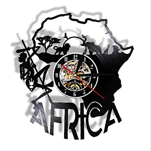 ACDFR Muur Klok Afrika Kunstwerk Laser Knip Muur Klok Nacht Licht Functie Handgemaakte Gift Voor Elke gelegenheid