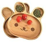 Pteng Plato de madera para niños, lindo plato de madera con forma de animal, plato dividido, plato para aperitivos, bandeja para servir, para niños, vajilla para niños, plato de madera
