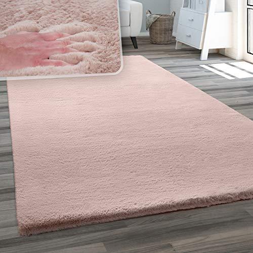 Teppich Wohnzimmer Kunstfell Plüsch Hochflor Shaggy Weich Waschbar, Grösse:80x150 cm, Farbe:Pink