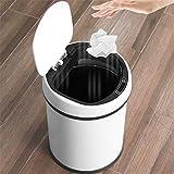 QJBH888 Sensor Inteligente de Carga automática de Basura de Metal Cubo de Basura con una Tapa Amplio salón Cocina baño Aseo hogar Inteligente Creativa (Color : White, Size : B)