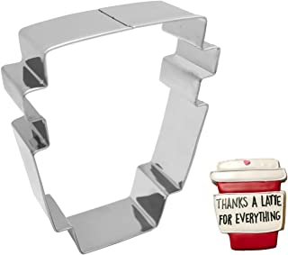 Antallcky Latte Coffee Cup Mug Cookie Cutter-4 Inch Stainless Steel Latte Cup Shaped Biscuit Molds Fondant Cookie Cutter Set Pastry Mold-1 Inch Depth