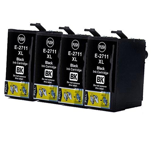 Teng 27XL - Cartuchos de tinta para Epson Workforce WF 3620 WF 3640 WF 7610 WF 7620 WF 7110 WF 7715 WF 7720 WF 7210 (4 negro)