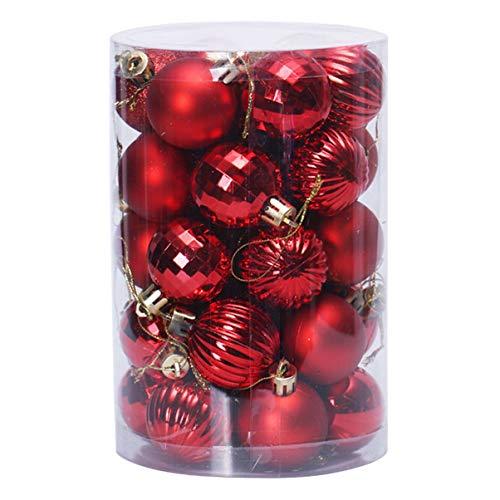 STOBOK Bola de Natal Vermelha Pendurada Glitter Bling Inquebrável Bolas de Natal Enfeites Decorativos Pingentes Pendurados Enfeites Ãrvore de Natal Decorações para Festas de Casamento 34