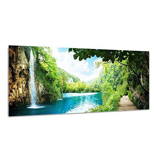 DEKOGLAS Glasbild 'Wasserfall See Bäume' Echtglas Bild Küche, Wandbild Flur Bilder Wohnzimmer Wanddeko, einteilig 125x50 cm