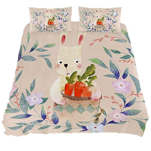 Audrey Brown Bedsheets Bed Set Duvet Cover Sets Bed Sheets Soft Duvet Cover Mattress Topper Bed Printed Duvet Cover Cartoon rabbit carrot King