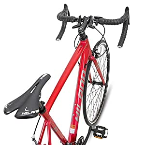 Hiland Road Bike 700c Racing Bike Aluminum City Commuter Bicycle with 21 Speeds Red 57CM