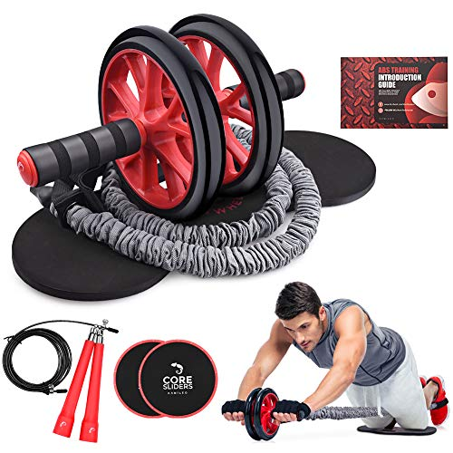 Ab Roller Wheel, Kamileo 5-In-1 Ab Roller Kit with Knee Pad, Resistance Bands, Jump Rope, Core Sliders, Perfect Home Gym Equipment for Abdominal Exercise (Workout Guide Included)