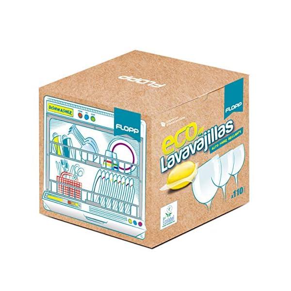FLOPP – Lavavajillas Ecológico,   Cápsulas Lavavajillas Eco Brillo Envase Biodegradable (8 doypacks) Lavavajillas Eco…
