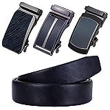 Cinturón de piel Barry.Wang para hombre con 3 hebillas automáticas, de trinquete, con correa ajustable y caja de regalo, color negro Negro Negro-b 90