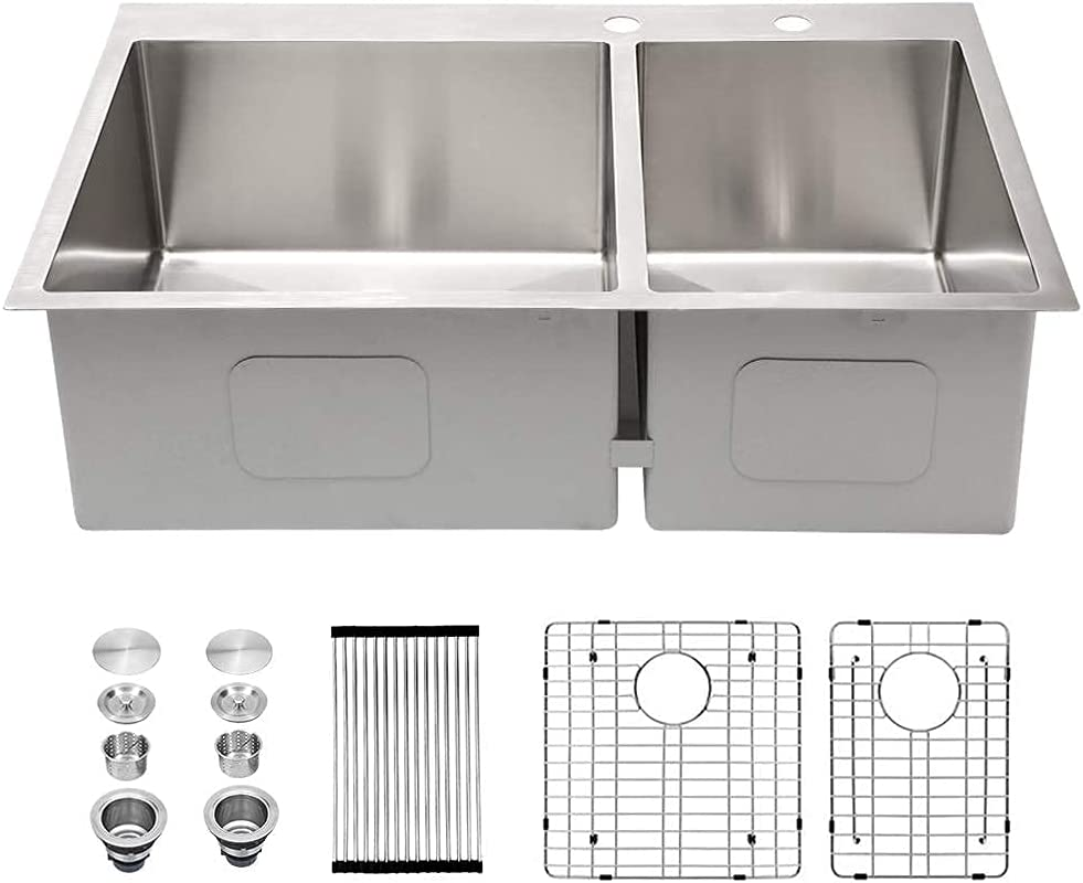 33 Kitchen Sink Drop In Inch New mail order Stainless - 70% OFF Outlet Sarlai