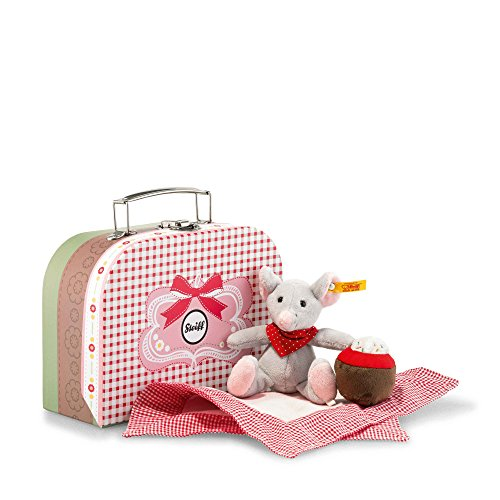 Steiff 113604 'Grey/Multi-Colour Picnic Friends Mr Little Mouse Plush Toy in Suitcase