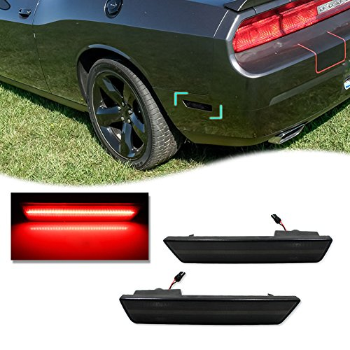 Smoked Lens Challenger Amber//Red Front Rear LED Side Marker Light Kits for Dodge Challenger 2008 2009 2010 2011 2012 2013 2014 180-SMD LED Turn Signal Driver and Passenger Sidemarker Lamps Replacement