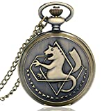 ZMKW Reloj de Bolsillo de alquimista de Metal Completo en Tono Plateado/Bronce, diseño de Anime de Edward Elric, Collar con Colgante para niños, Cadena de Regalo, Bronce