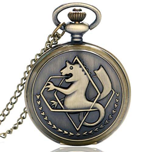 ZMKW Silber/Bronzeton Fullmetal Alchemist Taschenuhr Edward Elric Anime Design Jungen Anhänger Halskette Kettengeschenk, Bronze