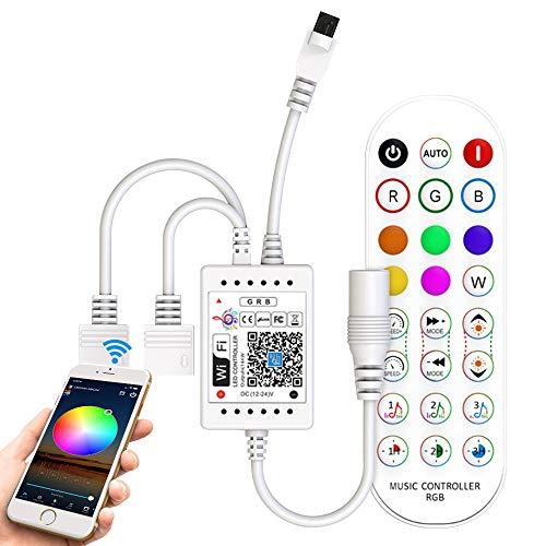 Controller für LED-Streifen, WLAN, RGB, mit Fernbedienung, IR-Musik, 24 Tasten für Streifen 5050, 3528 Stripe, kompatibel mit Alexa, Google Assistant, Android/iOS, Steuerung über WiFi/App