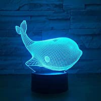 3DイリュージョンランプLEDナイトライトベストクリスマスギフト7色自動交換タッチスイッチデスクデコレーションランプバースデーギフト居心地の良いとても美しいかわいいクジラ