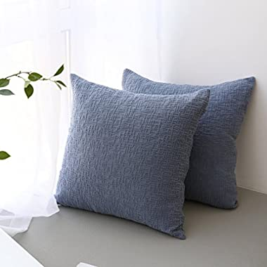 Kevin Textile Decorative Soft Velvet Corduroy Striped Square Throw Pillow Cushion Cover for Couch, 18 x 18 inch(45cm), Moonlight Blue, 2 Pack