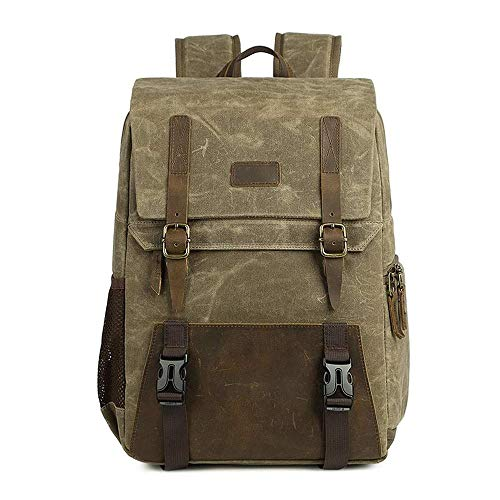 Dr.Sprayer Outdoor Airbed Knapsack Multi-function Camera Bag Retro Large Capacity Backpack Canvas Camera Backpack Breathable Wear-resistant -28 * 15.5 * 43cm Khaki