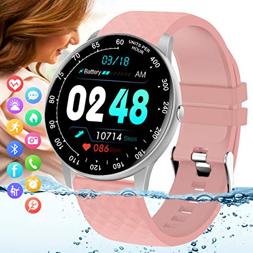 Peakfun Smart Watch,Fitness Tracker Watch with Heart Rate Blood Pressure Monitor IP67 Waterproof Bluetooth Smartwatch Smart Sports Activity Tracker Watch for Men Women Kids Android iOS Phones Pink