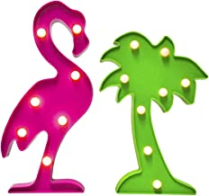 AceList Tropical Luau Party Supplies Flamingos Palm Trees Sign Light for Hawaiian Themed Party Decoration Birthday Bedroom Wall Decor Table Centerpieces