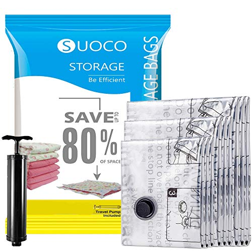 3. SUOCO Vacuum Storage Bags with Travel Hand Pump