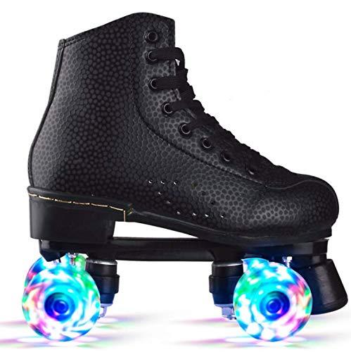 BENREN Skate Gear Süße Rollschuhe für Kinder und Erwachsene, Premium-Rollschuh aus Leder, Klassische Quad-Skates, mit All Wheels Light Up,37-Black