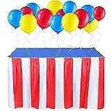 Set de 54 Adornos de Fiesta de Circo Carnaval, 2 Faldas de Mesa Rojas Blancas con Tema de Circo 2...