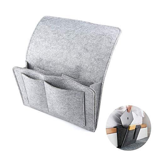 Enjoyfeel Aufbewahrungstasche für die Nacht, Soft-Filz-Bettaufhänger mit Tasche, praktische offene Tasche für Schlafzimmer, Wohnzimmer, Schlafsaal, Sofa, Schreibtisch (Grey)