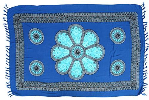 GURU SHOP Bali Sarong, Wandbehang, Wickelrock, Sarongkleid, Herren/Damen, Blau, Synthetisch, Size:One Size, 160x110 cm, Sarongs, Strandtücher Alternative Bekleidung
