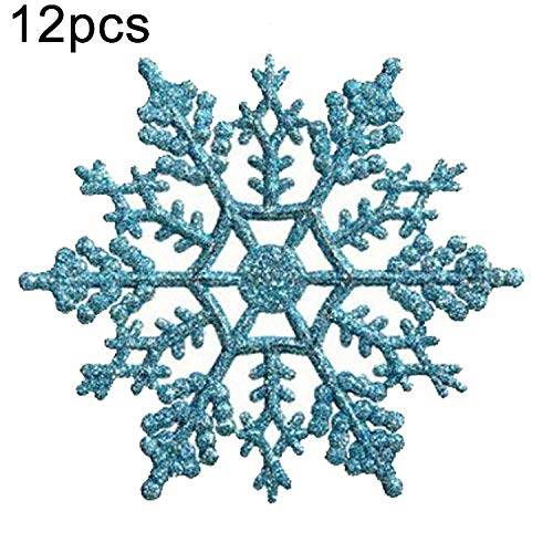 NoNo kerstboom ornamenten sneeuwvlok stuk decoratieve hanger losse poeder, diameter: 10 cm donkerblauw Baby Blue.