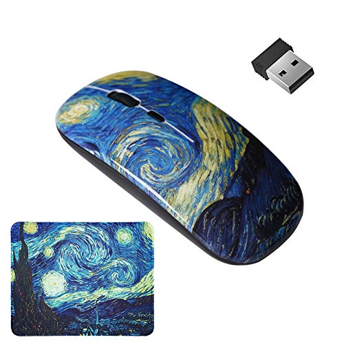LIZIMANDU Gaming Mouse and Mouse Pad Set,Wireless Computer Mouse   Mouse Pad for Home, Office(L2-Starry Sky)