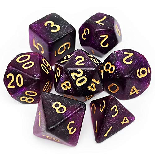 Haxtec Nebula DND Dice Set 7PCS Polyhedral D&D Dice for Roleplaying Dice Games as Dungeons and Dragons Pathfinder Warhammer Etc. (Purple Black Nebula)