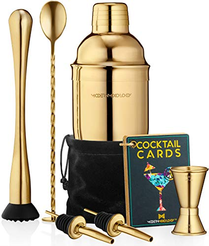 Cocktail Shaker Set Drink Mixer // 8-piece Portable Bartender Kit with 24oz Martini Shaker Bar Tool Set // 2 Pourers // Muddler // Jigger // Mixing Spoon // Velvet Bag // Built-in Strainer (Gold)