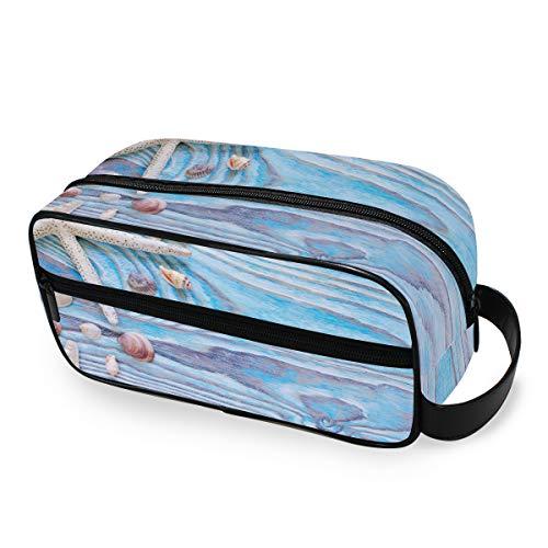 LZXO Kosmetiktasche zum Aufhängen, Seestern, Muschel, Holz, Reisetasche, Kosmetiktasche, Reisetasche, Kosmetiktasche mit Reißverschluss, professionell, tragbar, für Herren und Damen und Kinder.