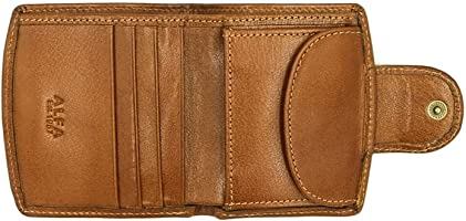 Alfa Leather Co. Leather Front-Logo Snap-Closure Bifold Wallet for Men - Camel