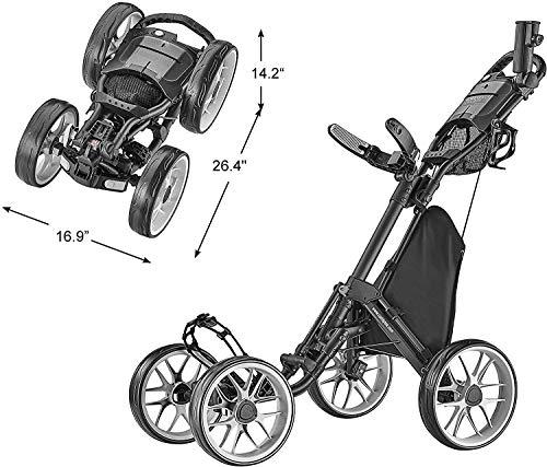 Buy Discount CaddyTek Caddycruiser One Version 8 - One-Click Folding 4 Wheel Golf Push Cart, Dark Gr...