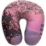 Hao-shop Almohada en Forma de U con Estampado de Arte japonés Almohada con Cuello de Espuma para Viajar Dolor en el Cuello con Material Resistente