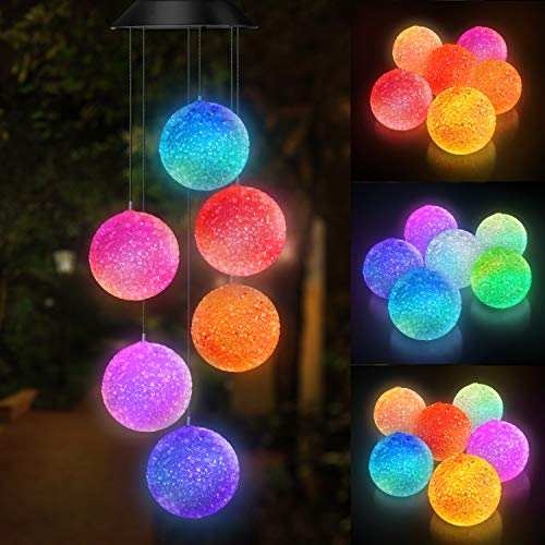 Topspeeder Color Changing Solar Power Wind Chime Spiral Spinner Crystal Ball Wind Mobile Portable Waterproof Outdoor Decorative Romantic Wind Bell Light for Patio Yard Garden Home (Crystal Ball)