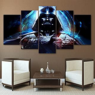 5PCS Framed Darth Vader Canvas - 5 Piece Canvas Starwars Artwork Canvas Prints Dark Side on Canvas Wall Art for Office & Home Wall Decor (12x20x2, 12x28x2, 12x32inch)