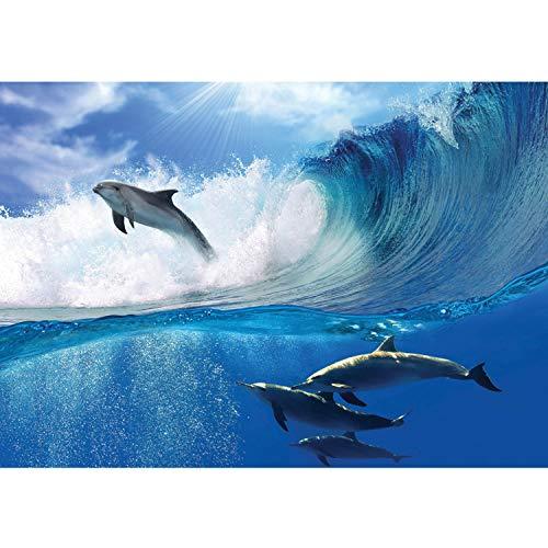 Vlies Fototapete PREMIUM PLUS Wand Foto Tapete Wand Bild Vliestapete - Delfin Meer Welle Tropfen Sonne Wasser - no. 531, Größe:300x210cm Vlies
