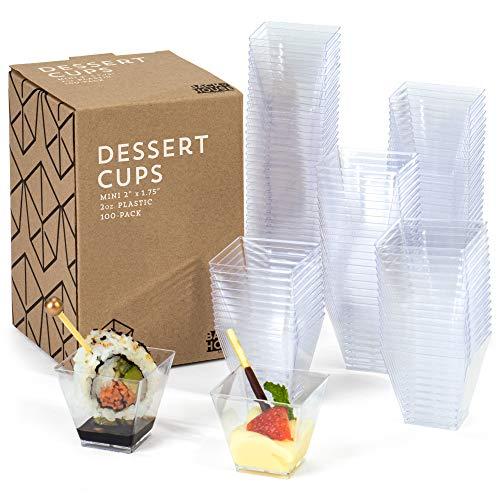 Vasos de postre de 2 onzas, paquete de 100 – Vasos cuadrados de plástico transparente – Disparos pequeños desechables para degustación de parfait, frutas, tartas, helados,...
