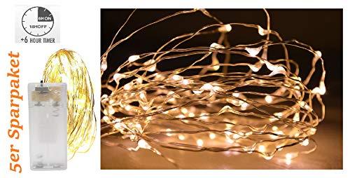 Vanorell 5 x 10 LED Drahtlichterkette Lichterkette mit Batterie und Timer Draht Lichterkette Warmweiß Lämpchen