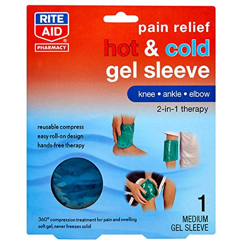 Rite Aid Pain Relief Hot & Cold Gel Sleeve for Knee/Ankle/Elbow - Medium | Ice Pack Therapy | Hot & Cold Compress for Pain Relief