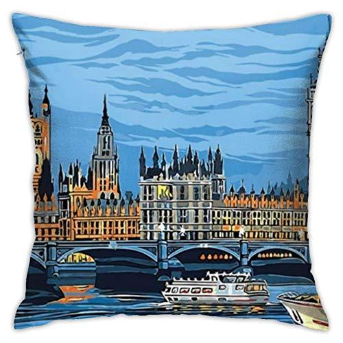 ChenZhuang - Funda de almohada de lino y algodón, diseño abstracto de Big Ben en Notre Dame de París, funda de almohada para sofá, casa, dormitorio, coche, funda de cojín D.