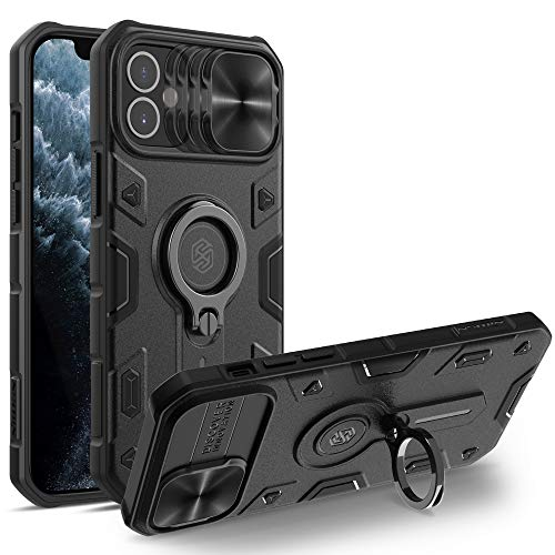 Nillkin CamShield Armor Custodia per iPhone 12 Mini Cover, [Protezione Fotocamera] Bumper Protettiva Custodia Anti Graffio Hard PC e TPU Silicone Case con Supporto ad Anello per iPhone 12 Mini (Nero)