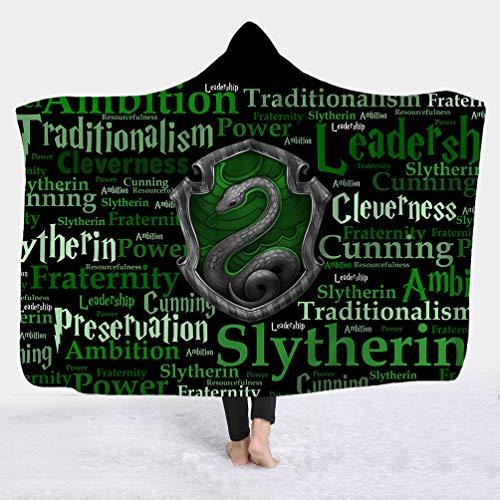 KHTO Dessin animé Gryffondor Serpentard Ravenclaw Pouffsouffle Couverture en Peluche à Capuche Imprimée en 3D Couvertures Portées Chaudes (1#,150_x_200_cm)