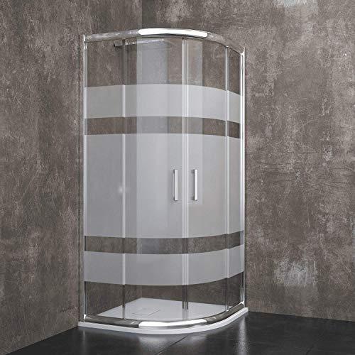 Box Doccia Semicircolare Davos Con Porte Scorrevoli Ante In Cristallo Temperato Serigrafato da 6 mm Struttura Alluminio Anodizzato Maniglie in Acciaio Cromato (80 x 80 x 185 cm)
